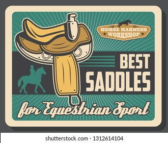 Equestrian sport retro vector, saddles horse race equipment. Harness straps and fittings, rider silhouette on mustang or stallion. Jockey on horseback, horserace gear items repair and production