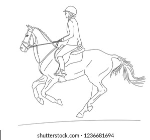 Equestrian sport. A rider cantering on a horse. Black and white outline.