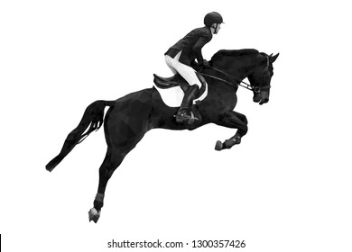 equestrian sport rider on horse jumping black-white image