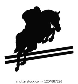 Equestrian sport, show jumping, eventing. A silhouette of a rider jumping on a horse.