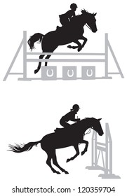 Equestrian sport Show jumping Horse and rider vector silhouettes