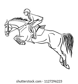 Equestrian sport, show jumping. Vector illlustrarion of a rider on a horse.