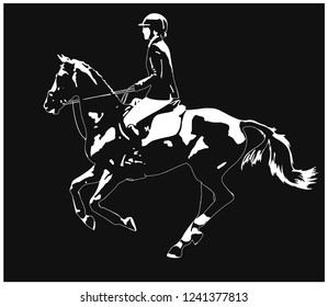 Equestrian sport. Silhouette of a rider cantering on a horse in the light.