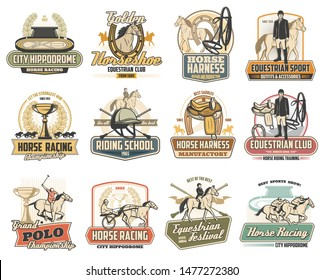 Equestrian sport vector badges of horse race, polo and riding school design. Jockey, racehorse and saddle, horseshoe, winner trophy cup and rider helmet, hippodrome, equine harness and polo mallets
