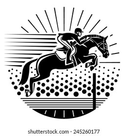 Equestrian sport. Vector illustration in the engraving style