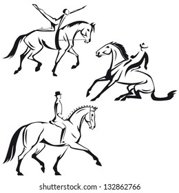 Equestrian sports 2: Sketch-based images showing equestrian vaulting, western riding  and dressage