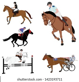 equestrian sports. dressage,jump show,gallop,harness racing  collection -vector illustration