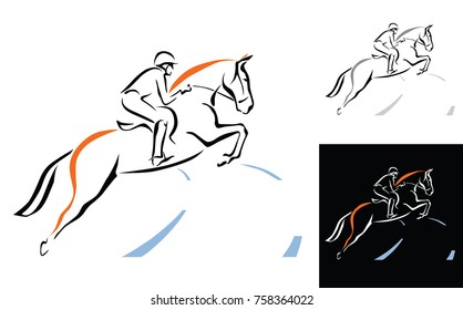 Equestrian sports line art illustration of jumping horse with a jockey. Can be used for logo for equine farm. vector