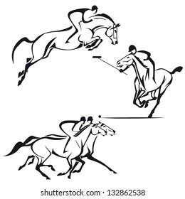 Equestrian sports: Sketch-based images showing show jumping, polo and horse racing