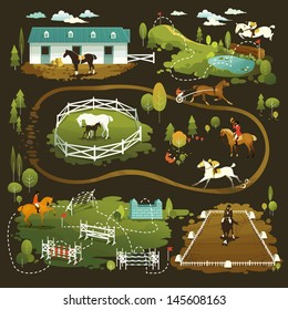 Equestrian vector illustrations of horse life, farming, racing, dressage, eventing and jumping show