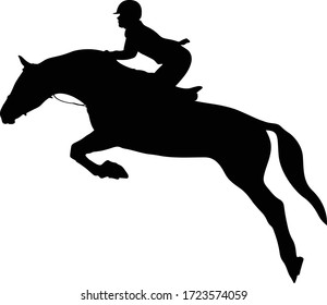 equestrianism horse and woman rider jump black silhouette