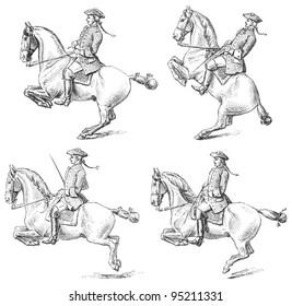 Equestrianism (horseback riding) / vintage illustration from Meyers Konversations-Lexikon 1897