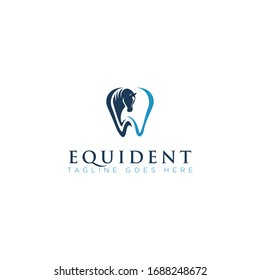 equident logo, with equine and tooth vector