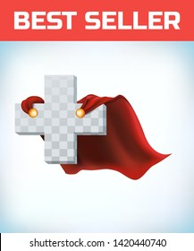 Equilateral cross in hero cape. Doctor super cloak. Pharmacy sign. Health icon. Medicine concept. Health sign. Superhero symbol. Cross care. Healthy idea. Help emblem. Insurance logo. Vector
