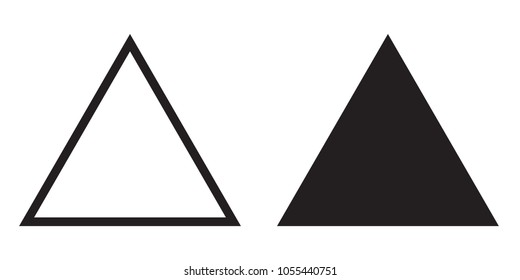 Equilateral triangle icon of vector outline line and silhouette triangle