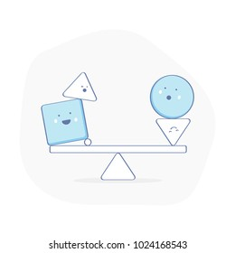 Equilibrium, balance, counterpoise,  creative symbol of fragile Balance of stones. To weight pros and cons, calmness or stability sign. Funny smiley characters ride on the swing. Flat outline vector.