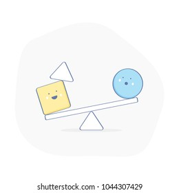 Equilibrium, balance, counterpoise,  creative symbol of fragile Balance of stones. To weight pros and cons, calmness or stability sign. Funny smiley characters ride on the swing. Flat outline vector