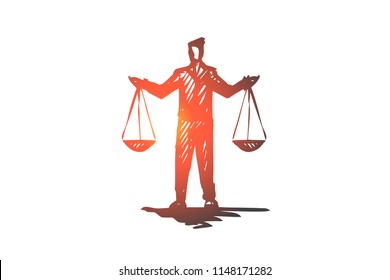 Equilibrium, balance, equality, scale, justice concept. Hand drawn person with scales in hands concept sketch. Isolated vector illustration.