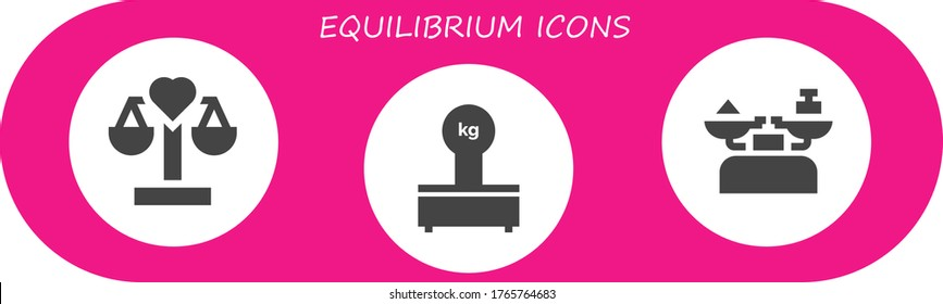 equilibrium icon set. 3 filled equilibrium icons.  Simple modern icons such as: Balance, Scales, Scale