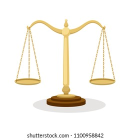 Equilibrium scales. Standing balance judicial scales isolated on white background, court concept cartoon vector illustration