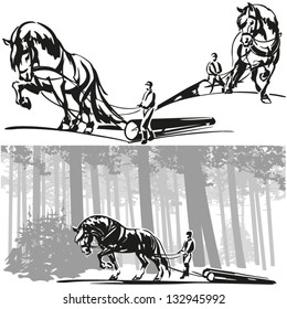 Equine Forestry Three brush-drawing based images showing a logger and his workhorse drawing logs