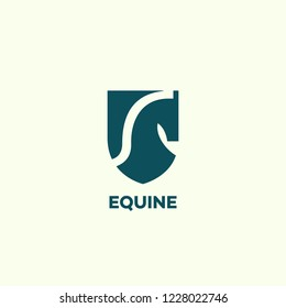 Equine logo design template with a horse head and a shield. Vector illustration.