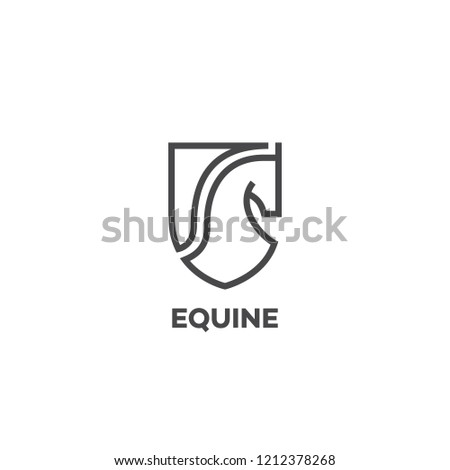 Equine Logo Design Template With A Horse Head And Shield In Outline Style Vector