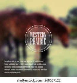 Equine Vintage style blurred background with with ranch or equestrian business logotype.