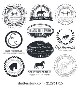 Equine vintage vector logo. Perfect horse related business symbols with antique texture. Premium quality ranch or equestrian business logotype.