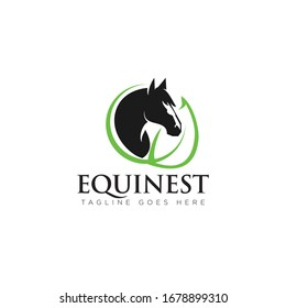 equinest logo, with head horse and abstract leaf as nest vector