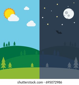 Equinox half day half night. Day and Night background with landscape vector illustration.