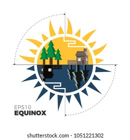 Equinox vector illustration â?? when day and night last equal time. Spring day landscape double-sided: sun and moon variants. Flat design â?? for motion graphics and infographics.