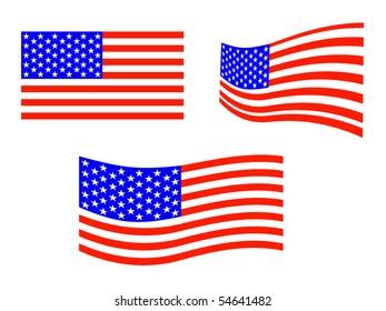 equipment of american flags - vector