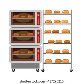 Equipment for baking. Kitchen appliances, bakery Oven and bread, stove. Vector