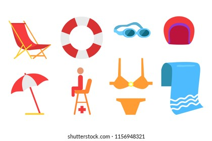 Equipment for beach and swimming vector icon in cartoon style. Lifebuoy and sunbed, open umbrella, lifesaver seat, swimsuit and glasses, towel and hat