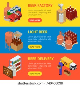 Equipment and Beer Production Banner Horizontal Set Isometric View Style Elements for Brewing Factory. Vector illustration