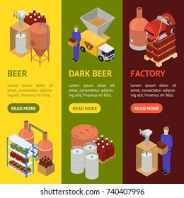 Equipment and Beer Production Banner Vecrtical Set Isometric View Style Elements for Brewing Factory. Vector illustration