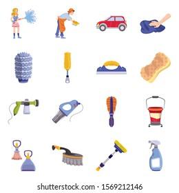 Equipment for car wash vector cartoon icon set.Vector isolated illustration brush and sponge.Icon set of avto wash.