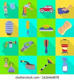 Equipment for car wash vector flat icon set.Vector isolated illustration brush and sponge.Icon set of avto wash.