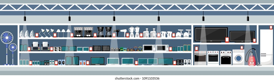Equipment and electronics shop. Vector illustration