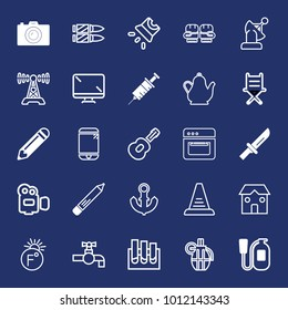 Equipment filled and outline vector icon set on navy background