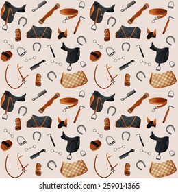 Equipment horse seamless pattern. Seamless Vector illustration