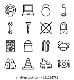 Equipment icons set. set of 16 equipment outline icons such as plate fork and spoon, washing machine, no dry cleaning, screw, wrench, cone, saw blade, pepper, MRI, TV van
