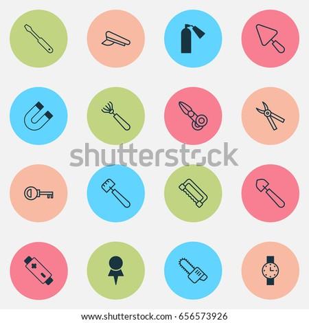 Equipment Icons Set Collection Alkaline Password Stock Vector