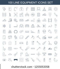 equipment icons. Trendy 100 equipment icons. Contain icons such as shower, golf putter, sport expander, spoon, comb, dental chair, plug socket. equipment icon for web and mobile.