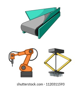 Equipment and machine cartoon icons in set collection for design.Technical progress of the factory vector symbol stock web illustration.