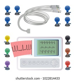Equipment for making electrocardiogram, wires clips and fasteners, electrocardiography