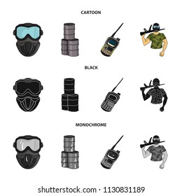 Equipment, mask, barrel, barricade .Paintball set collection icons in cartoon,black,monochrome style vector symbol stock illustration web.