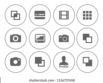 equipment Photography icons set - digital camera illustrations - photo & picture sign and symbols