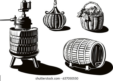 Equipment to produce wine: wine press, barrel, carboy, and basket of ripe grapes just harvested.